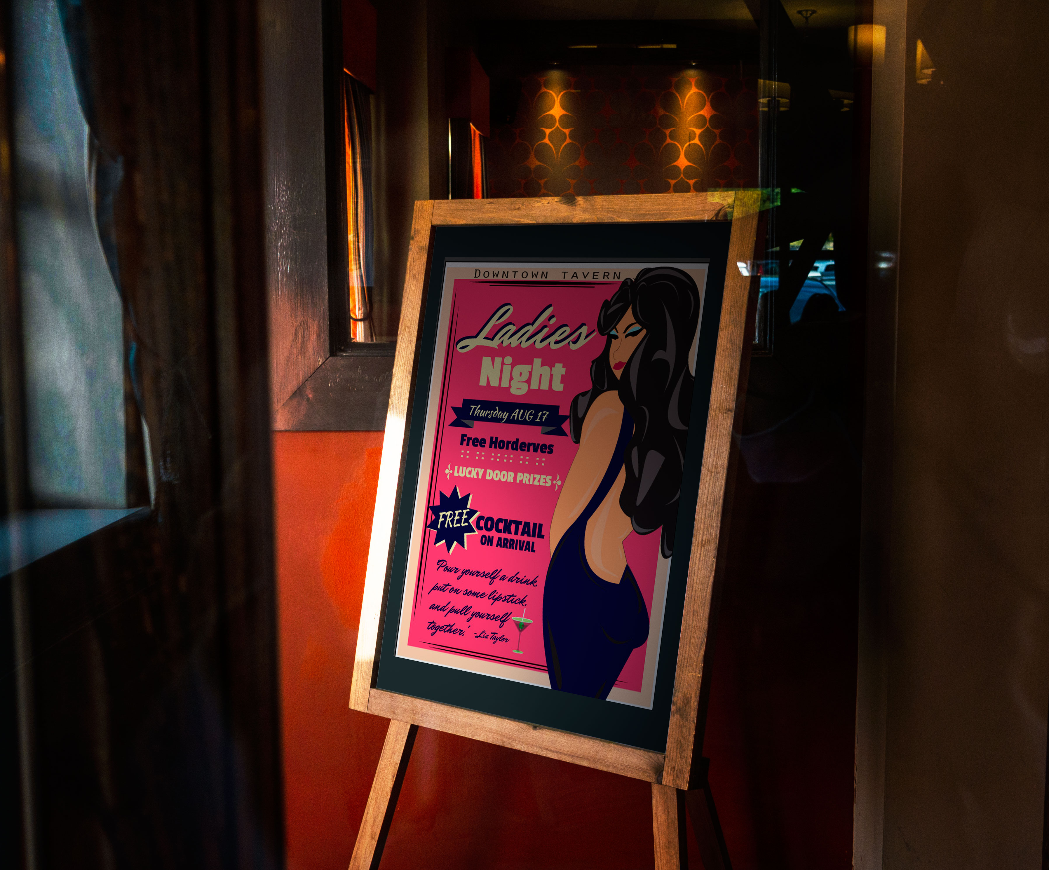 A Poster featuring Ladies Night for a local pub